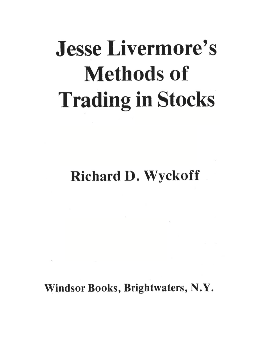 Jesse Livermore's Methods of Trading in Stocks on E-Book.business