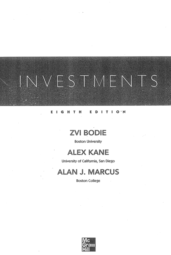 Bodie, Kane, Marcus INVESTMENTS 8th edition book